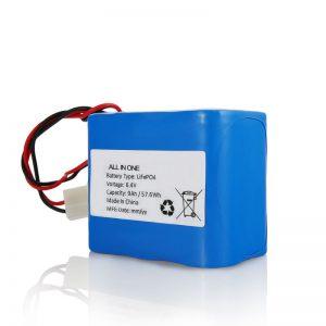 6.4V 12Ah LiFePO4 қайта зарядталатын литий 26650 32650 күн батареясына арналған қосқышы бар батарея жиынтығы